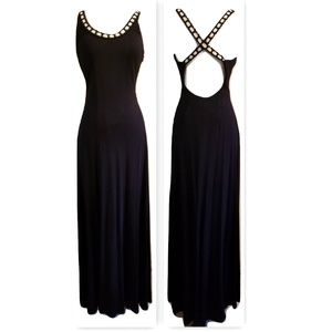 1990s Backless Pearl Strap Vintage Evening Gown